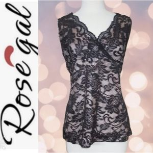 Rosegal Overlay Lace Scalloped Surplice Top NEW